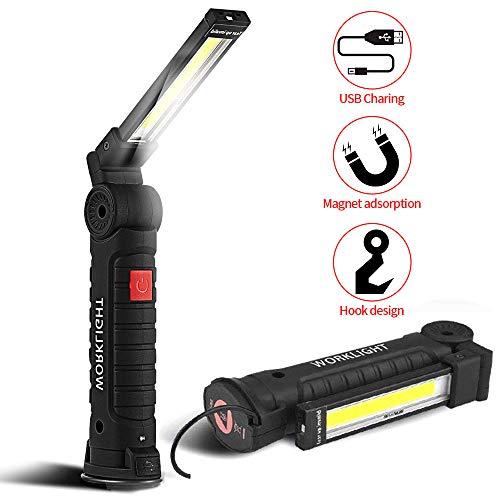 Linterna SunTop USB Recargable LED portátil con soporte magnetico en la base y Gancho