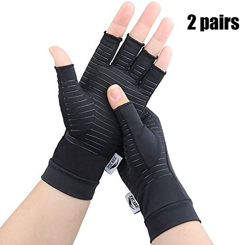 ZZcare 2 Pairs Copper Arthritis Gloves for Women/Men, Compression Gloves for Arthritis & Carpal Tunnel Pain Relief, Fingerless Gloves for Computer Typing and Daily Work (Black, Large)