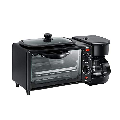 SSZZ Frühstücksmaschine - 3-In-1-Kaffeekanne Backmaschine, Große Kapazität Temperaturregelung Kann Zeitgesteuert Werden, Schwarz