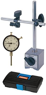 """Kit includes: dial indicator and magnetic base Dial indicator range: 0-1"""" and resolution: 0.001"""" Magnetic base with 132 Lbf magnetic pull Magnetic base with on/off switch Tool kit comes in plastic case"""