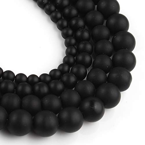 Yochus 8mm Black Matte Onyx Agates Round Loose Beads Frost...