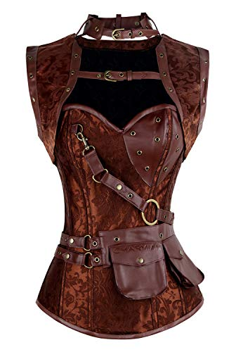 Charmian Women's Retro Goth Spiral Steel Boned Brocade Steampunk Bustiers Corset with Jacket and Belt Brown X-Small (Apparel)