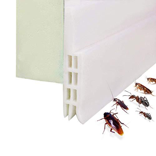 Expower Selbstklebende Tür Türdichtung Dichtungsstreifen Zugluftstopper gegen Insekt Ersatzdichtung Wetterfest Blocker Schalldichtung Silikon Türstopper 100 * 5cm (1M Weiß)