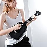 XYF Elektrische Gitarre Ukulele Konzert 23 Zoll, Ukulele Erwachsene Einsteiger-Set, Mahagoni Cutaway Für Erwachsene Und Kinder Mit Nylonsaiten (Color : Black, Size : 23 inches)