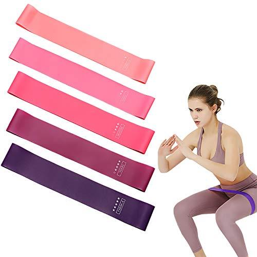 Elastici Fitness, (Set di 5) Bande di Resistenza Fitness con 5 Livelli di Resistenza,Fascia per Uomo e Donna,Fasce Elastiche Fitness per Crossfit, Yoga, Pilates, Squats, Lunges, Stretching