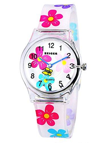 Orologio bambina ragazze Zeiger Orologio impermeabile Time Teacher al quarzo orologi per bambini gemelli ragazze Orologio sportivo per ragazzi ragazze per 5-12 anni (Bianco Flowers)