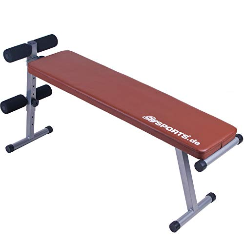 ScSPORTS Bauchtrainer klappbar, Trainingsbank verstellbar, Sit-Up Bank mit Beinfixierung, rot