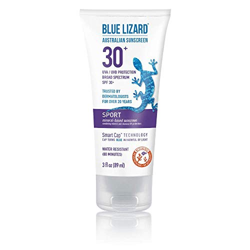 Blue Lizard Sport Mineral Sunscreen with Zinc Oxide, SPF 30+, Water/Sweat Resistant, UVA/UVB Protection with Smart Cap Technology - Fragrance Free, 3 oz. Tube