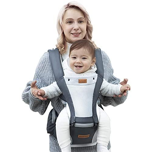 besrey Marsupio Neonato 0-36 mesi Ergonomico con sedile/puro cotone leggero e Traspirante Regolabile per Neonati Bebè e Bambino(3,6 a 15 Kg)