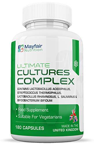 Complesso di Biocolture | 180 Compresse con 10 Miliardi di CFU | Lactobacillus e Acidophilus | per Vegetariani | Senza Glutine e No OMG | 6 Mesi | Prodotto nel Regno Unito da Mayfair Nutrition