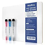 Nicpro 9 x 12 inches Lapboard Small Dry Erase Lap Board Double Sided with 3 Water-Based Pens...