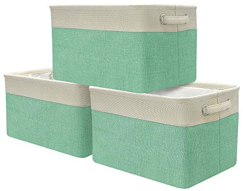 Sorbus Storage Large Basket Set [3-Pack] - Big Rectangular Fabric Collapsible Organizer Bin with Carry Handles for Linens, Towels, Toys, Clothes, Kids Room, Nursery (Cream White Trim (Green)