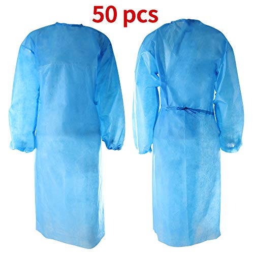 50PCS Disposable Isolation Gowns, Universal Protective Gown Coverall, Elastic Cuff, Non-Woven, Disposable Cleaning Gowns, Indoor Outdoor Safety Personal Clothing【Blue】