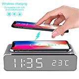 LED Alarm Clock Time Temperature Display Wireless Charger Charging Pad Dock, Qi-Certified for iPhone 11, 11 Pro Max, XR, Xs Max, XS, X, 8, 8 Plus, 10W Fast-Charging Galaxy S10 S9 S8, Note 10 Note 9