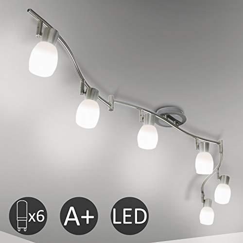Eofiti Faretti LED da Soffitto Orientabili Lampadario da Soffitto Plafoniera l'Illuminazione per Cucina o Camera da Letto con 6 Luci G9 Bianco Freddo 6000K 5W 400lm 230V