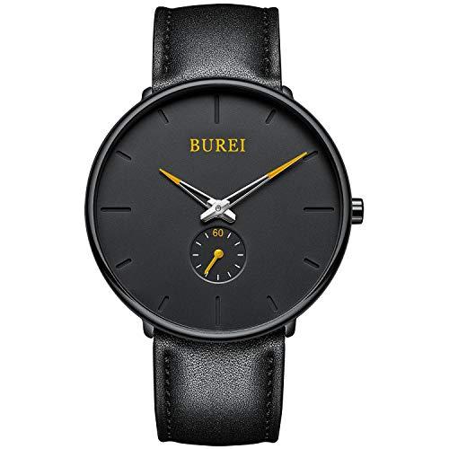 BUREI Herren Uhren Quarz Armbanduhr Schwarz Analoganzeige Schlichtes Design Klassisches weiches Lederband (Orange)