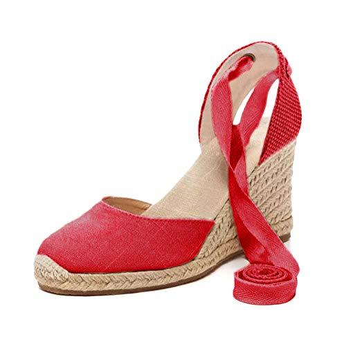 Tomwell Sandalias Mujer Cuña Alpargatas Moda Bohemias Romanas Sandals Rivet Playa Verano Tacon Zapatos A Rojo 43 EU
