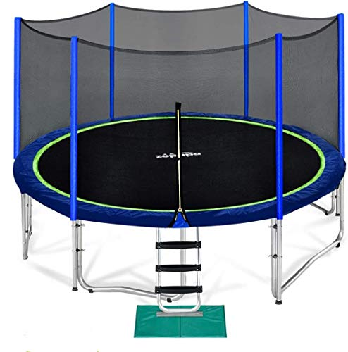 Zupapa 15 14 12 10 FT Trampoline 425 LBS Weight Capacity for Kids with Safety Enclosure Net Outdoor Trampolines with All Accessories (15FT)