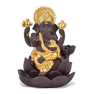 House-of-Crafts-Hand-Carve-Louts-Ganesh-Back-Flow-Smoke-Incense-Holder-Burner-Fountain-Statue-Ganpati-Decorative-Showpiece-for-Shelf-Decor-Home-Decor-Pooja-Decoration-Gift-with-10-Back-Flow-Cone-Free