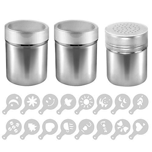 AIFUDA - Set di 3 stampi in acciaio INOX con 16 stampini stampati, in lattine con rete per caff, cappuccino e latte, agitatore con foro per cucina, ristoranti