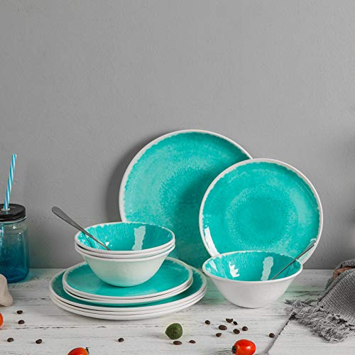 Melamine 12 Piece Dinnerware Set - Dishes Set Suitable Indoors and Outdoors, Service for 4,Lightweight, Turquoise