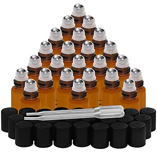 Belle Vous Roll On Vuoto per Oli Essenziali (Confezione da 24) - Botticini Vetro Ambrato da 3 ml - Boccetta Olio Ricaricabile con Sfere Acciaio Inossidabile e Contagocce per Fragranze e Aromaterapia