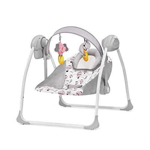 Kinderkraft Babywippe FLO 2in1 Babyschaukel Wippe Schaukelwippe mit Vibration Spielbogen Spielzeuge verstellbare Rückenlehne Klappbar 8 Melodien von Geburt an Rosa