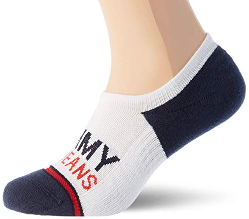 Tommy Hilfiger Tommy Jeans No-show High Cut Socks (2 Pack) calze, Bianco, 39/42 (Pacco da 2) Unisex-Adulto