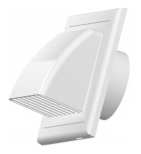 Griglia di ventilazione di scarico zuluft cappa travestimento valvola antiritorno 100 mm ABS bianco...