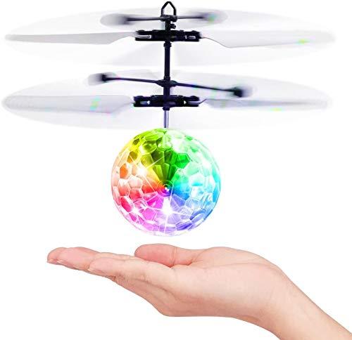 Baztoy Giocattoli Palla Volante, Mini drone per Bambini Luci Led Elicottero Telecomandato Veicoli Aereo RC Giochi da Giardino Interno All'aperto Regalo Bambino Bambina 3 4 5 6 7 8 9 10 11 12 Anni