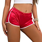 Tulucky Women's Sexy Booty Dolphin Shorts Sports Gym Workout Night Club Hot Pants(Red,M)