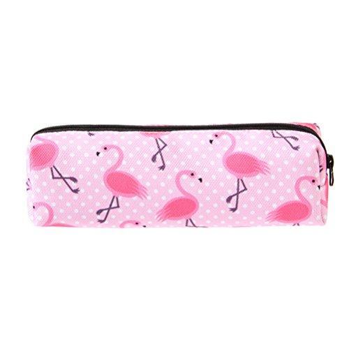 NUOLUX astuccio fenicotteri rosa per trucco e per cancelleria per studenti custodia per matite,borsa portaoggetti per cosmetici,19 x 5,5 x 6 cm