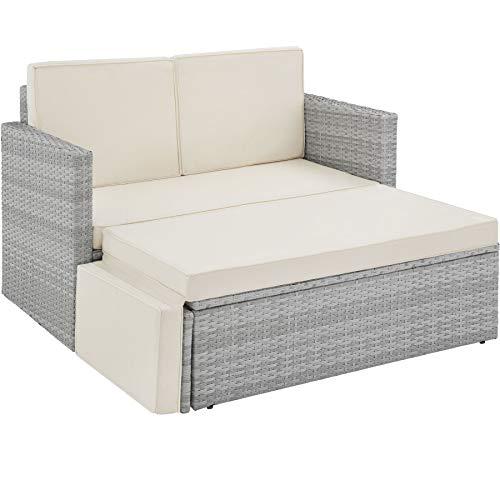 TecTake 800884 Divano Lounge in Rattan, Doppia Sdraio, Pouf con Cuscino, Elevato Comfort di Seduta, Arredamento da Giardino, Nuovo (Grigio Chiaro)
