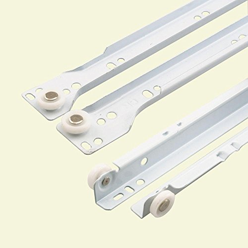 Prime-Line R 7212 Drawer Slide Kit  Replace Drawer Track Hardware  Self-Closing Design Fits Most Bottom/ Side-Mounted Drawer Systems 19-3/4 Steel Tracks, Plastic Wheels, White 1 Pair (2 LH, 2 RH)