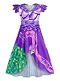 HenzWorld Cartoon Costume Dresses for Girls Role Pretend Cosplay Princess Birthday Theme Party Nightgowns Outfits Irregular Skirt 3D Printed Purple Kids 4T Age 3-4 Years