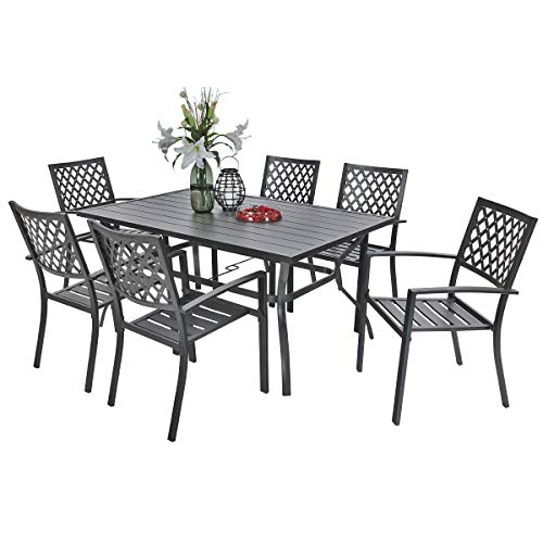 PHI VILLA Outdoor Patio Dining Set of 7 with Metal 60'x38' Rectangular Dining Table and Bistro Chairs - Black