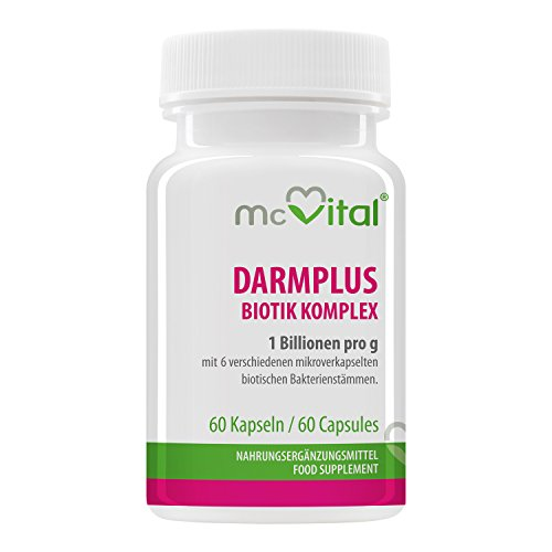 McVital DarmPlus Biotik Komplex • 1 Billionen Bakterien pro Gramm • 60 Kapseln • Aktive Bakterienstämme • Made in Germany