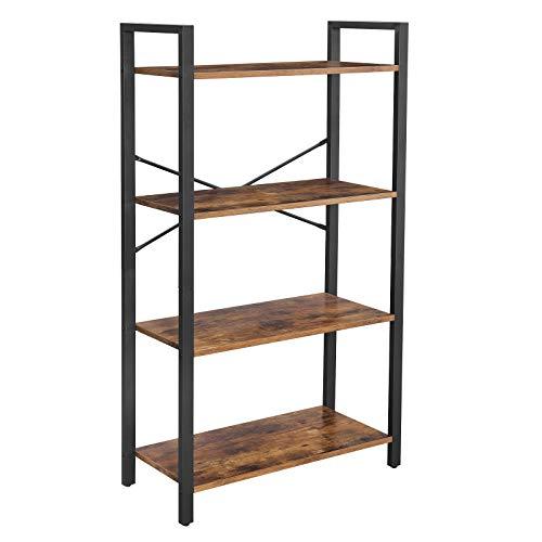 VASAGLE Bücherregal, Standregal, Leiterregal, Wohnzimmerregal, 4 Ablagen, stabiles Stahlgestell, Schlafzimmer, Büro, Industrie-Design, Vintage, Dunkelbraun LLS60BX