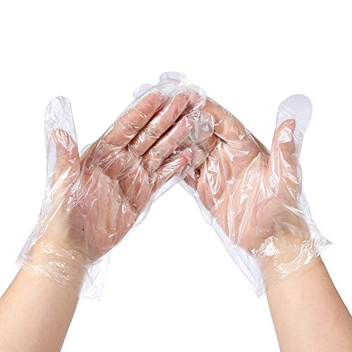 MoloTAR 500 Pieces Plastic Disposable Gloves,Disposable Gloves for Cleaning, [ One Size Fits Most ]