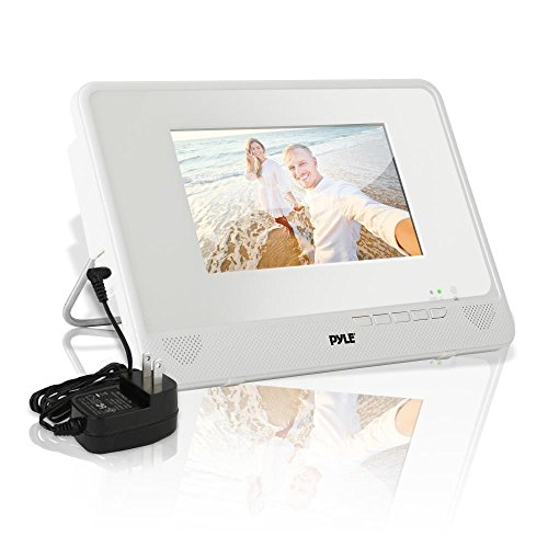 Portable Waterproof Multimedia Disc Player - 7in Screen White Digital Music Audio Video Player w/ Dual Stereo Speakers, CD DVD Tray, RCA, USB, Rechargeable Battery, Headphones, Remote - Pyle PLMRDV74