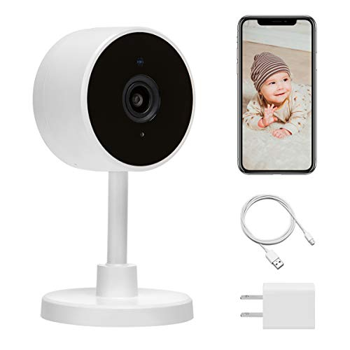LARKKEY 1080p WiFi Home Smart Camera, Indoor 2.4G IP Security Surveillance with Night Vision, Monitor with iOS, Android App, Compatible with Google Home (White)