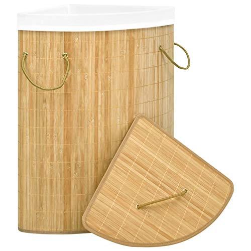 Festnight Eck-Wäschekorb 60 L Bambus Wäschekorb Faltbarer Waschkorb Wäschesammler aus Bambus Multifunktionale Korb Leicht und transportabel