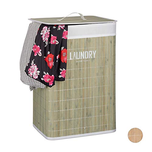 Relaxdays Wäschekorb Bambus, mit Deckel, 60 l, Wäschesack, faltbar, Wäschesammler mit Aufdruck, 60x40x30cm, grün