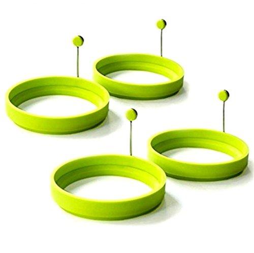 Binnan Confezione di 4 Anelli in Silicone per Uova, Stampo per Pancake Antiaderente