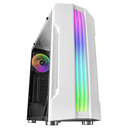 Mars Gaming MCKW, Caja PC ATX, TrIple Franja LED, Ventilador Trasero 12cm, Blanco