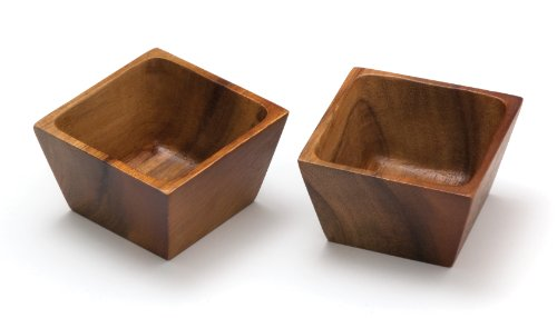 Lipper International Acacia Wood Square Salt Pinch or Serving Bowls, 3' x 3' x 2-1/2', Set of 2