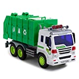 Toy To Enjoy Garbage Truck Toy with Light & Sound – Dump Cleaning Trash Truck - Friction Powered Wheels & Openable Back - Heavy Duty Plastic Vehicle Toy for Kids & Children