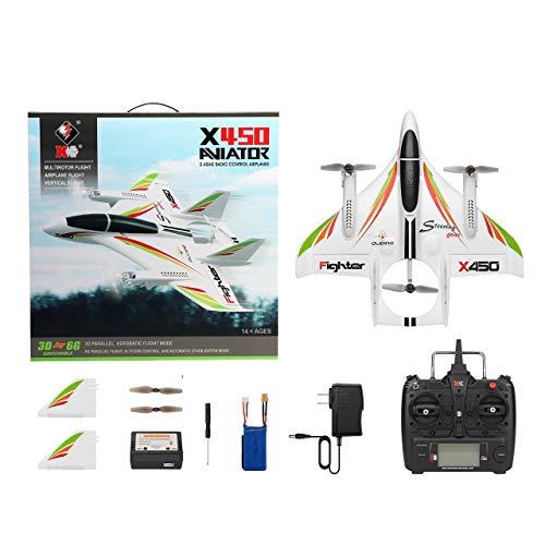 fITtprintse X450 3D Aerobatic RC Airplane 6 canali Telecomando Atterraggio Verticale Decollo Aereo ad Ala Fissa Giocattoli per elicotteri Drone