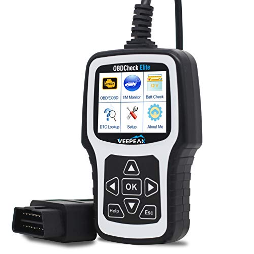 Veepeak OBD2 Scanner Engine Fault Code Reader OBDCheck Elite Auto Check Engine Light Reset Diagnostic Scan Tool Analyzer with Full OBD II Modes and Carrying Case