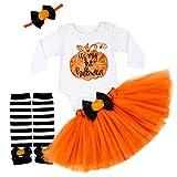 My 1st Halloween Outfits Newborn Baby Girl Clothes Pumpkin Romper Tops+Tutu Tulle Skirt+Leg Warmth Dress 3PCS Set (White, 3-6 M)